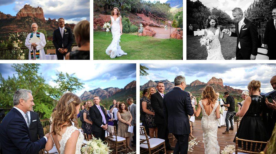 sedona destination wedding outdoors arizona bride walks down isle to meet groom first look