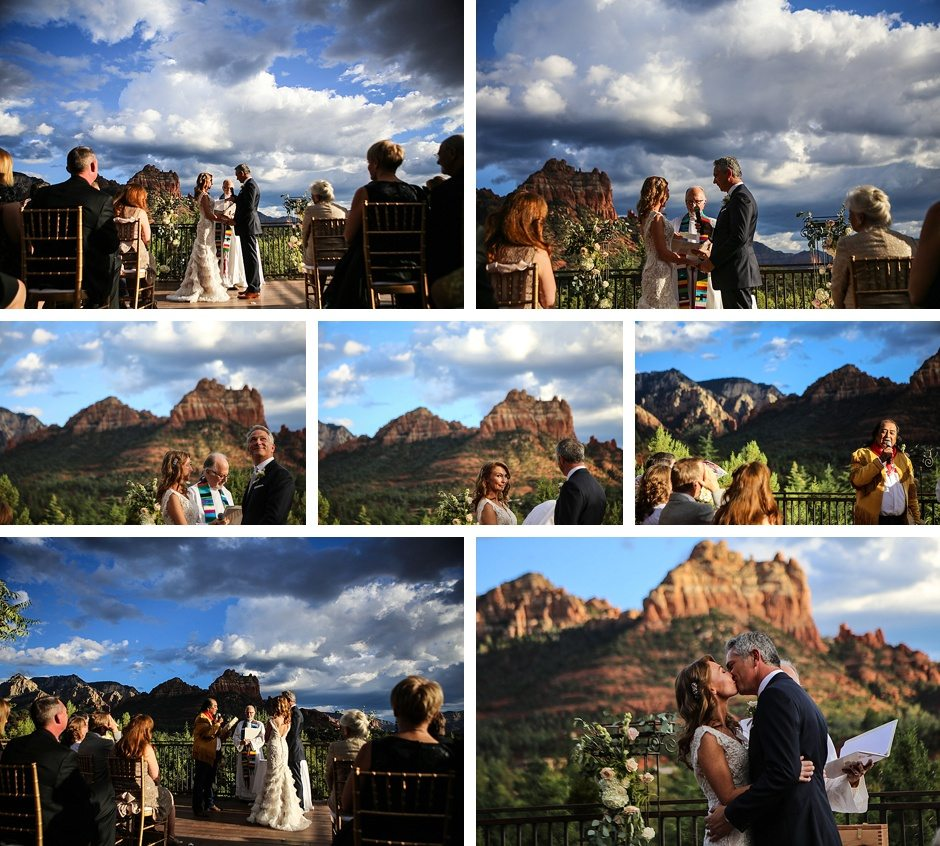 sedona destination wedding bride and groom take their vows outdoors under the sky intimate blessing
