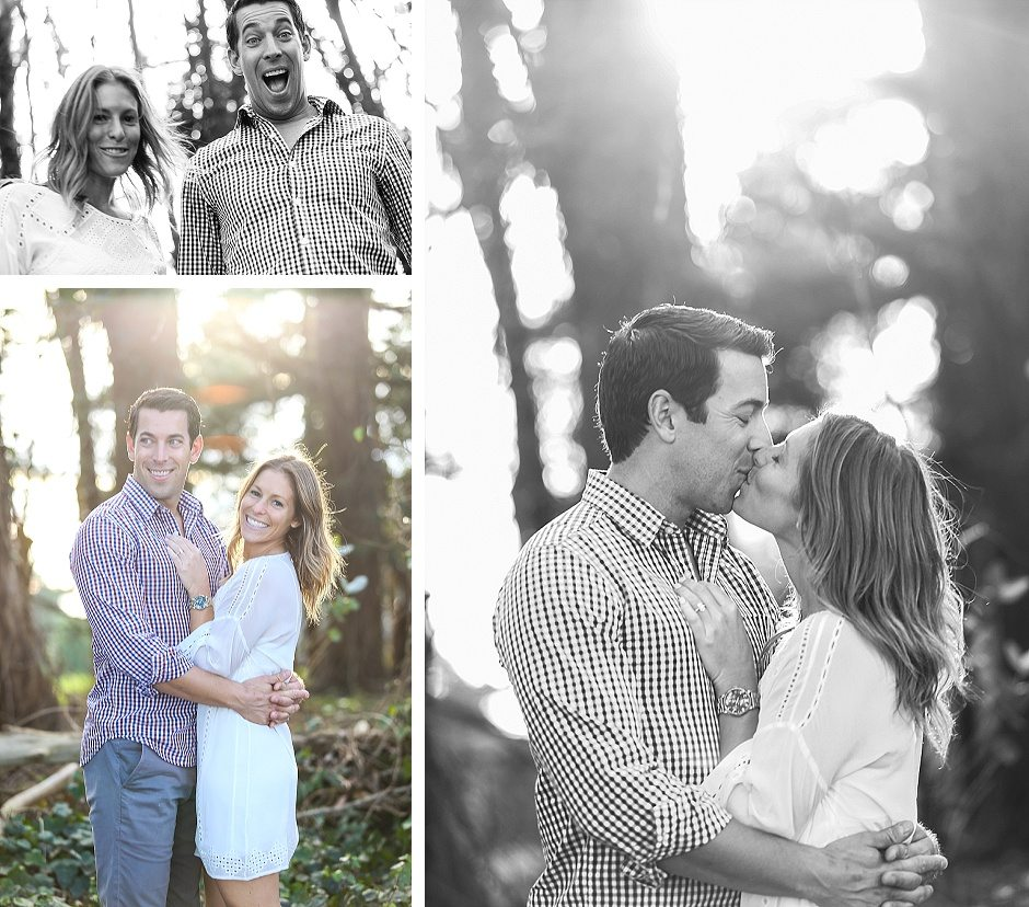 engagement session in san francisco with a couple hugging and kissing in black and white being happy and laughing