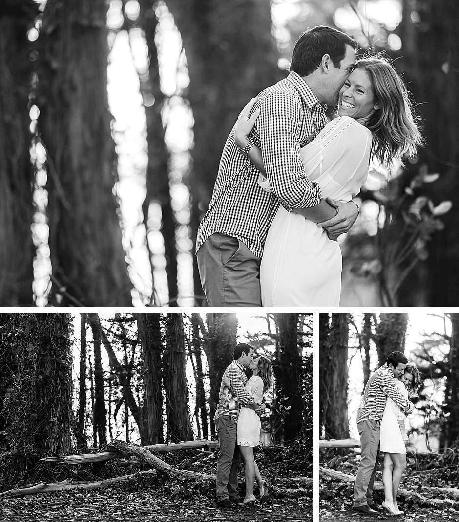 black and white engagement photos under the trees hugging in chrissy field san francisco