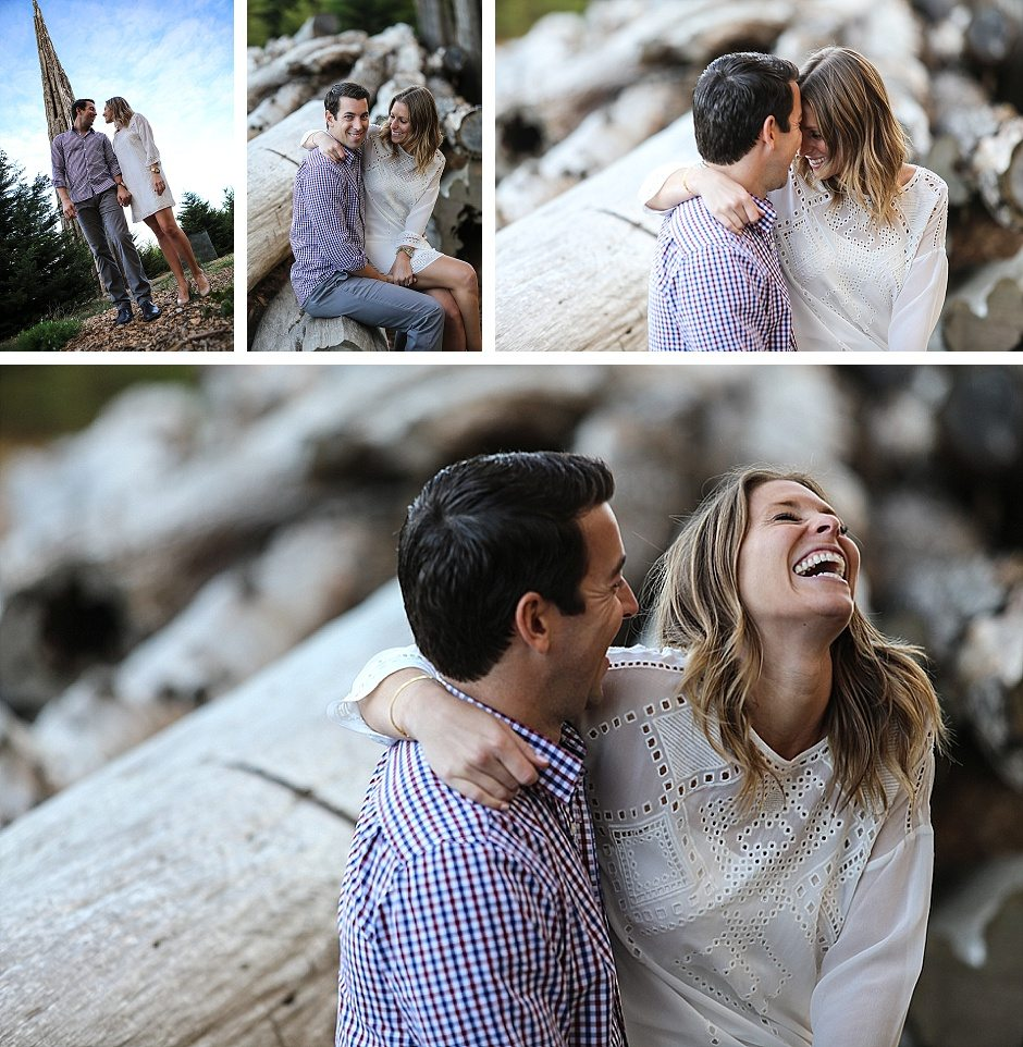 a couple laughing during their engagement session and hugging in chrissy field san francisco