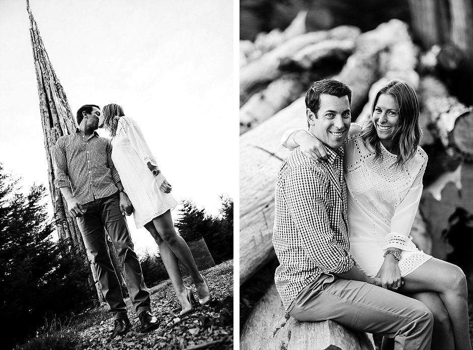 black and white engagement photos with a couple kissing and laughing