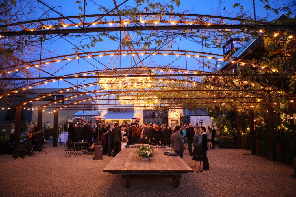 outdoor evening wedding at barndiva in healdsburg, ca