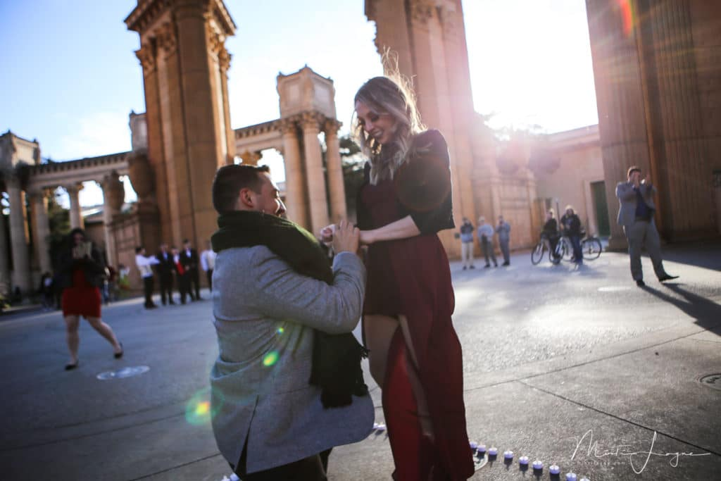 Proposal photography at the Palace of Fine Arts