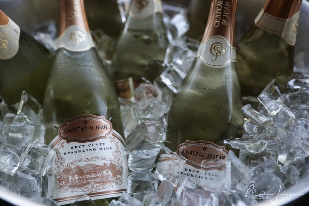 wine bottles of champagne